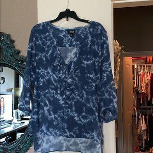Tie dye ruffle blouse